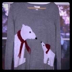 Mama and baby polar bear sweater